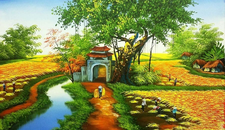 Tranh làng quê Việt Nam đẹp