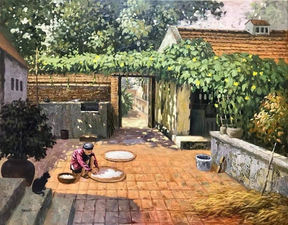 Tranh vẽ làng quê xưa tuyệt đẹp